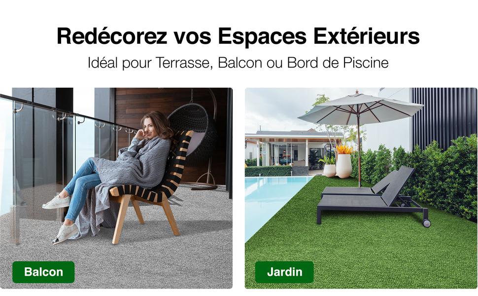 Moquette ext/érieure 600x200cm terrasse Balcon Nombreuses Couleurs au Choix casa pura Tapis Gazon Artificiel au m/ètre | Bleu Jardin etc