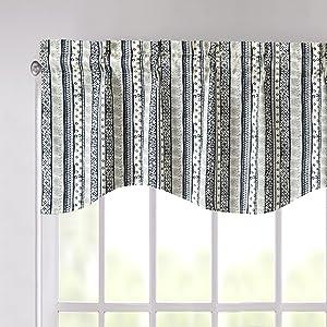denim navy blue elegance bedding set quit patchwork window curtain valance floral dainty cute love