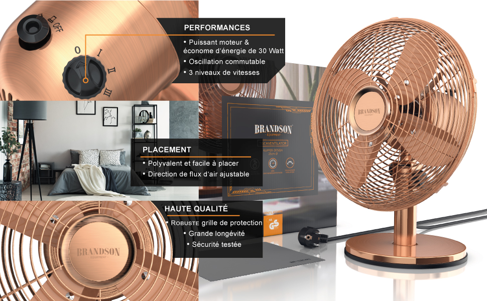 303057 ventilateur de table rétro cuivre