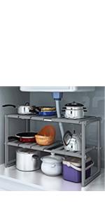 2-Tier Under Sink Expandable Shelf Organizer Rack, Kitchen or Bathroom Adjustable Storage Shelves