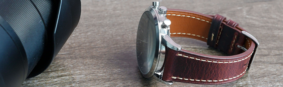 EurCross Watch Band 22mm Bands Over item handling   Leather S ...