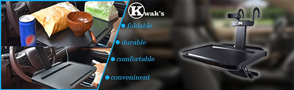 Kwak's folding table for car, convenient and durable, fit for business trip, travel, studying in car