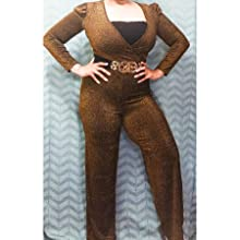 Women's Sexy Sparkly Jumpsuits Plus Size Elegant Clubwear V Neck Long Sleeve Rompers with Belt