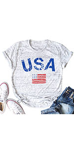 Womens USA Tshirt American Flag Tee Shirt Short Sleeve Patriotic Casaul Cotton Blend Top Shirt