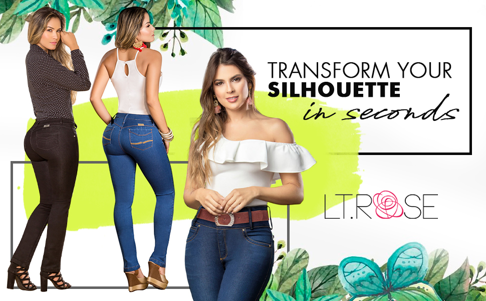 LT.ROSE Womens Butt Lifter Skinny Colombian Jeans Colombianos Levanta Cola Mujer