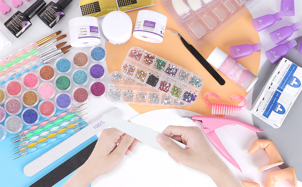 Cooserry  48 Colors of Glitter Acrylic Powder And Liquid Set for Nails Professional Set