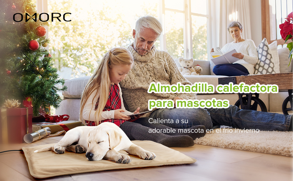 45/°-55/° Anti-Mordida/. OMORC Manta El/éctrica para Perro Almohadilla T/érmica para Mascotas,2 Fundas de Tela Reemplazables Temperatura Constante Autom/ática,3 Niveles de Temperatura Ajustable