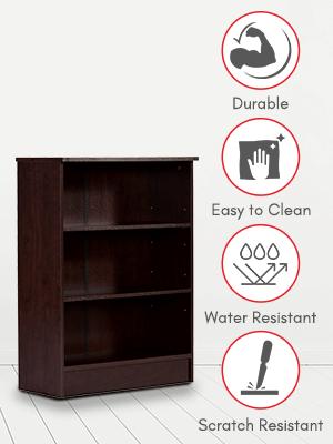 DeckUp Dusun Book Shelf/Display and Storage Unit (Dark Wenge, Matte Finish SPN-FOR1