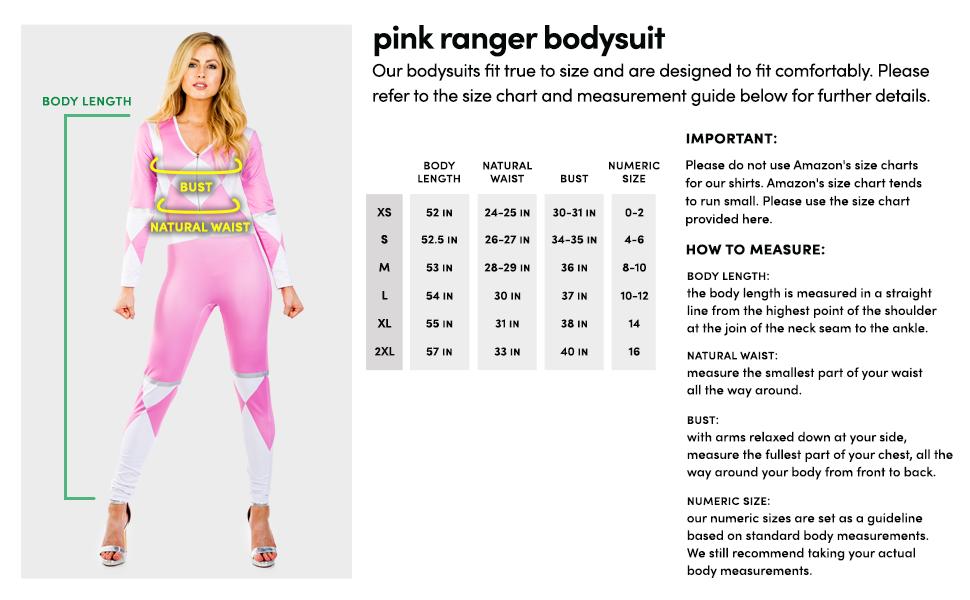 Tipsy Elves Womens Pink Ranger Bodysuit 90s Ranger Halloween Costume