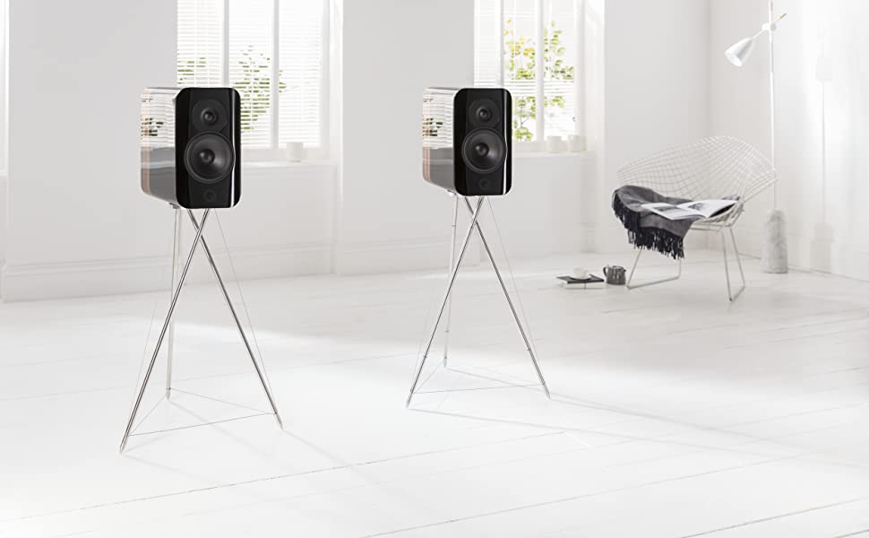 q acoustics high-end concept 300 bookshelf speakers with stands