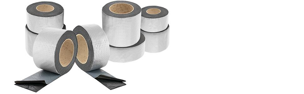 Poppstar Cinta adhesiva papel aluminio de butilo (5 mx 50 mm x 1,5 mm) autoadhesiva y selladora