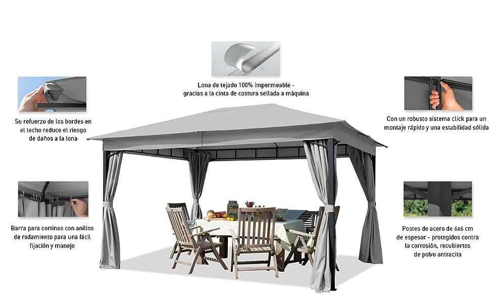 TOOLPORT Cenador de jardín 3x4m 180g/m² Lona de Techo pabellón Impermeable 4 Lados Carpa de Fiesta Gris Claro Perfil 6x6cm: Amazon.es: Jardín