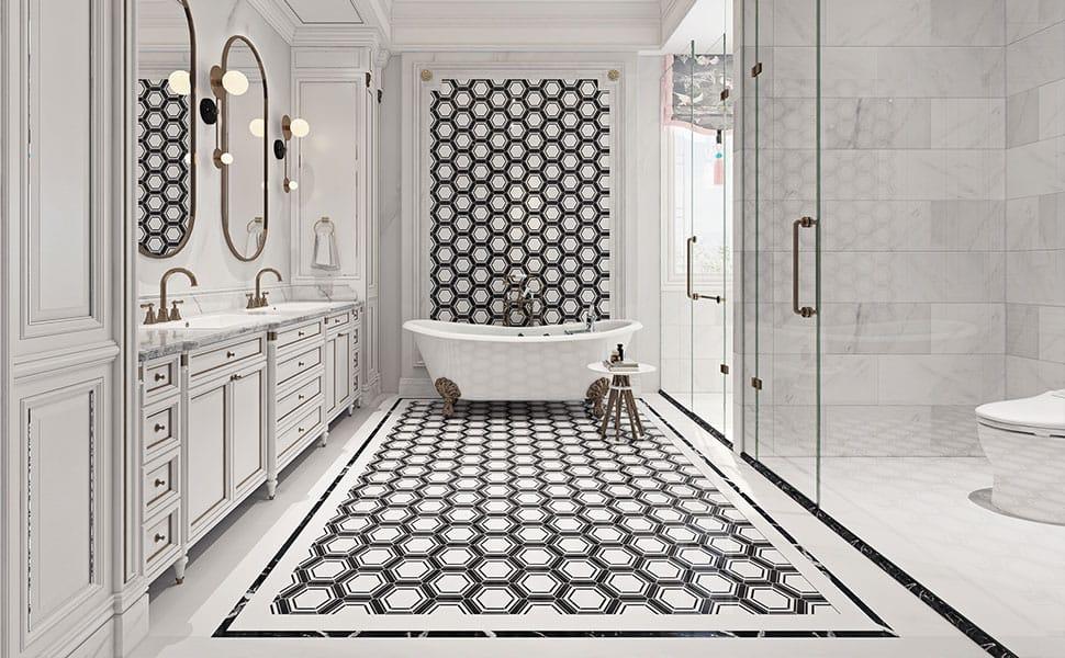 Soulscrafts Hexagon Marble Mosaic White And Black Hex Tile Polished For Kitchen Backsplash Bathroom Wall Floor Tile 5 Pack 2 Sq Ft Amazon Com