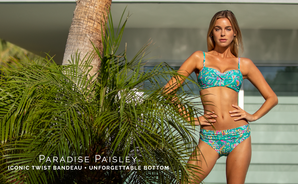 Sunsets Iconic Twist Bandeau and Unforgettable Bottom in Paradise Paisley.