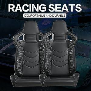 Kairay 2 Stück Set Sports Style Rennsitze Pvc Leder Verstellbarer Schalensitz Sportsitz Autositz Schwarz Weiss Auto