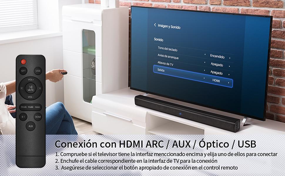 Mpow Barra de Sonido HD Canales 2.0, 40W Altavoz Bluetooth para TV, Bass+, Estéreo DSP, Bluetooth 5.0, Conexión con HDMI/Optical/AUX/RCA/USB, Incluido Control Remoto, Colgante al Pared: Amazon.es: Electrónica