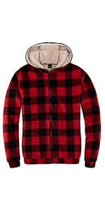 Women's Plaid Flannel Shirt Sherpa Fleece Hooded Jacket Sweatshirt Full Zip Hoodies