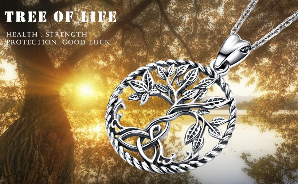 TREE OF LIFE SPIRITUAL PENDANT 40 MM NECKLACE 22 INCH CHAIN GIFT BOX BIRTHDAY