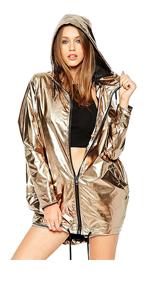 Outerwear Long Sleeve Sweatshirt Gold Metallic Zipper Up Punk Raincoat
