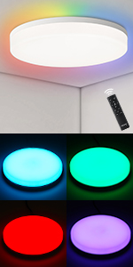 Youtob LED Flush Mount Ceiling Light Round Lighting Fixture for Closets Kitchens