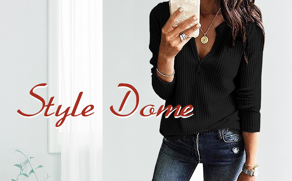 Style Dome Mujer Camiseta Camisa Blusa Mangas Largas Elegante Moda Oficina Casual Suelto con Tops Bolsillo Color Camisa Gris-649686 M
