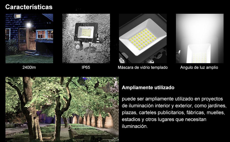 Focos LED con Sensor de Movimiento, BEIEN 30W 2400LM Foco Exterior LED, Super Brillante 6000K de luz de seguridad, IP65 Impermeable Foco LED Detector Movimiento,para Jardín,Patio, Camino,Yarda: Amazon.es: Iluminación
