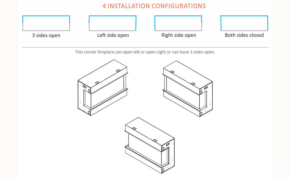 Corner Fireplace with 4 install method