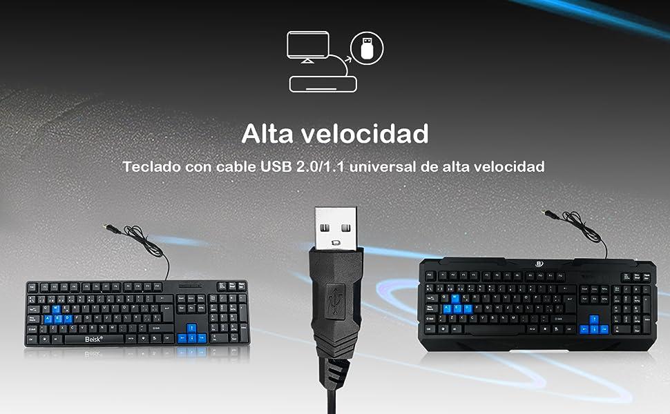 BEISK Teclado con Cable USB español estándar con Teclados mecánicos y Resistente para PC, Mac, Windows, etc. Negro
