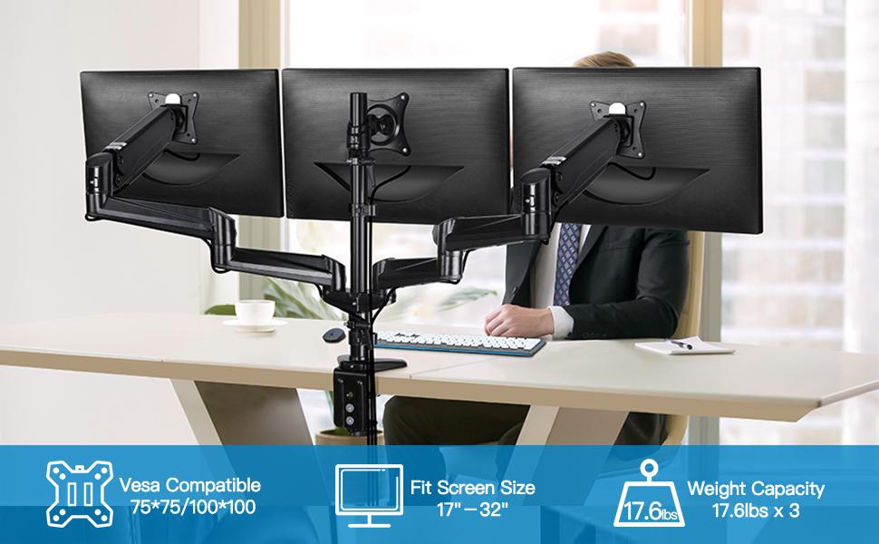 three monitor stand