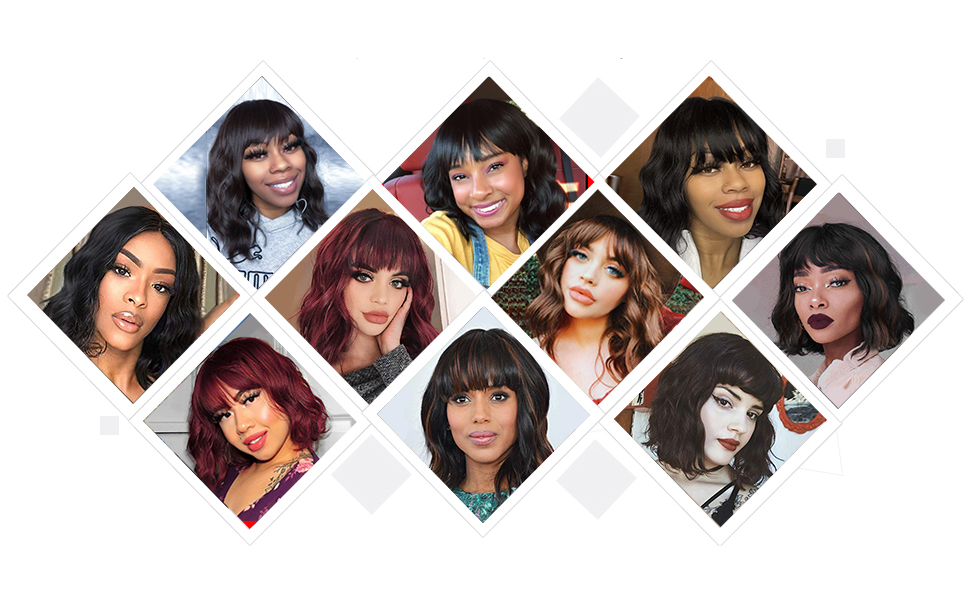 Bob Curly Wig Synthetic Short Black Wig with Bangs Natural Looking Heat Resistant Hair for Women