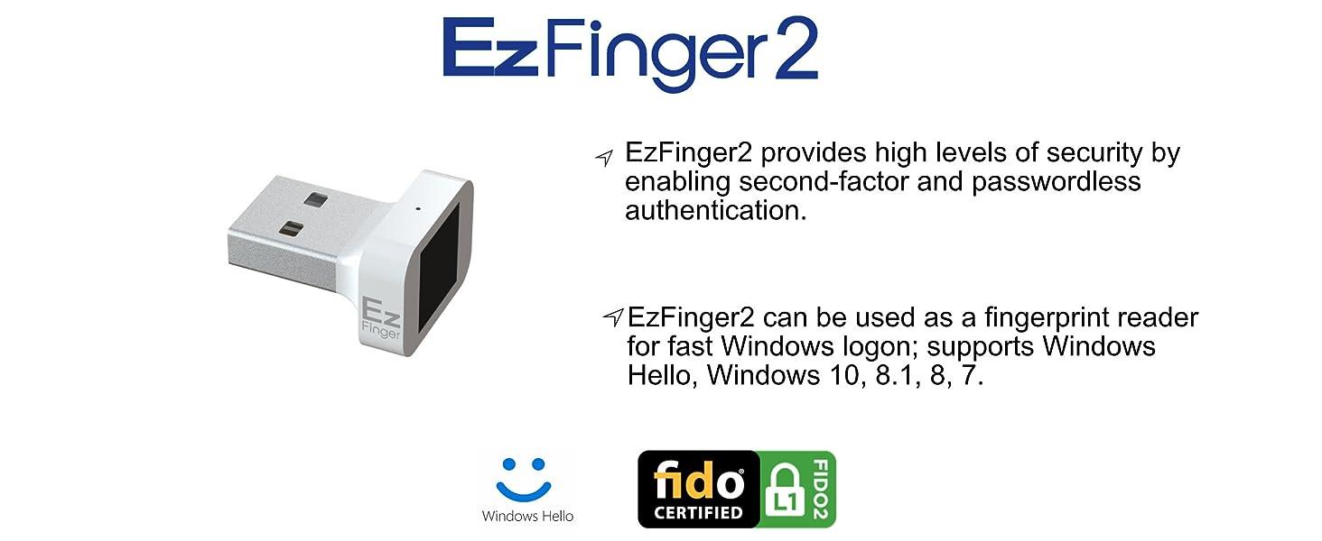 ezfinger2 logon fingerprint security fast compact fido2 u2f mini usb