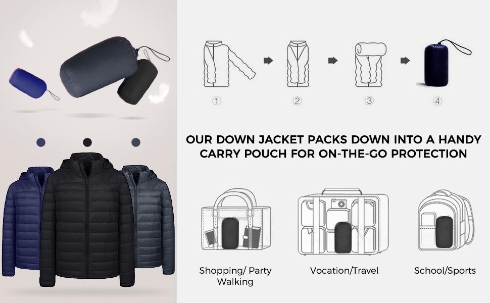 mens packable coat jacket winter