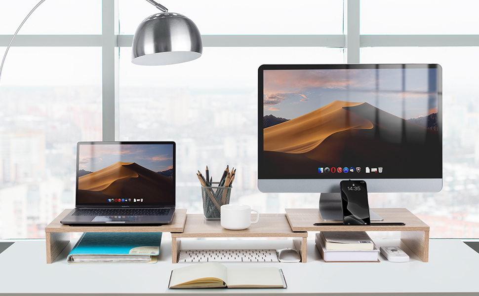 dual monitor stand riser