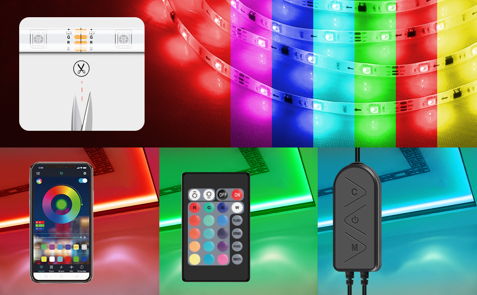 Smart APP Controllable Multi-color Changing Light Strips From Moobibear