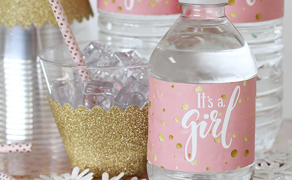 Instant Download Baby Shower Sweet Sixteen Pink and Gold Dots Water Bottle Labels Quincea\u00f1era Birthday Customized Prom DIY