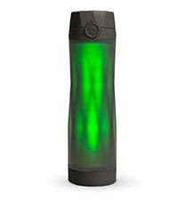 hidrate spark 3 smart water bottle closeup, 3 light patterns, syncs via bluetooth, black color