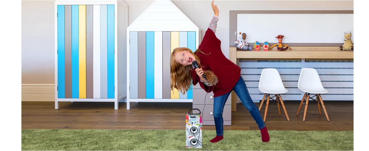 enceinte bluetooth, enceinte, micro, jouet fille, cadeau fille 10 ans, micro karaoké, cadeau