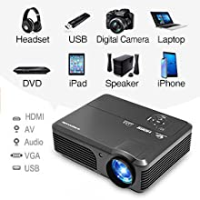 WiFi Movie Projector 4400 Lumen, Full HD 1080P Supported Wireless Bluetooth LED Airplay Projector with Smart Phone, Fire TV Stick, PS4, HDMI, USB, ...