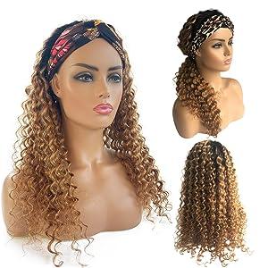 Curly Human Hair Wigs for Black Women, 100% Unprocessed Brazilian Virgin Hair Glueless