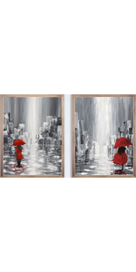 """Romantic wall art Couple in love under Red Art Painting Set of 2 8""""X10"""" No Frame"""