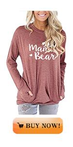 MODARANI Mama Bear Patchwork Sleeve Shirts for Women Casual Comfy Tunic Tops