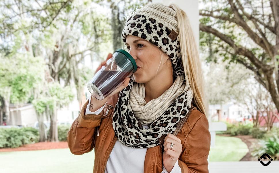 Warm Winter Fall Knit Toboggan Bun Ponytail Beanie Skully Hat Cheetah Leopard