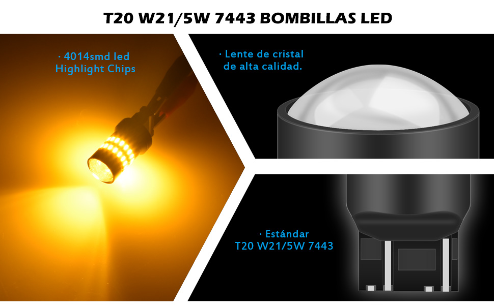 KaTur 2 X 1200 lúmenes Super Brillante 7440 7443 992 Bombillas LED ...