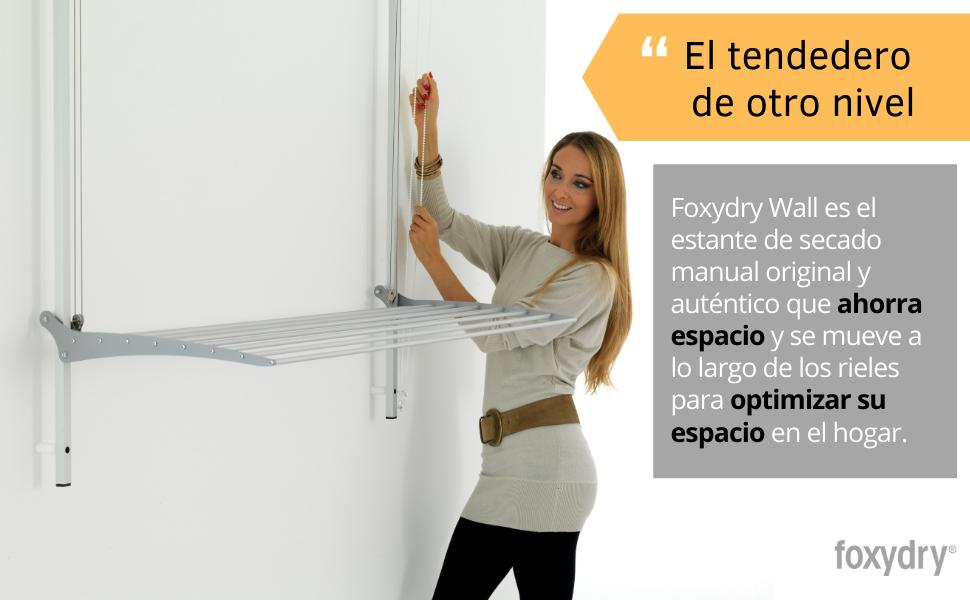 foxydry tendedero de pared de techo que ahorra espacio vertical plegable