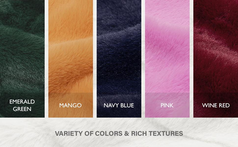 Vellax Faux Fur Throw Blanket Pillow Covers Set Navy Blue