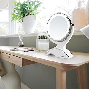 Auxmir Kosmetikspiegel LED Beleuchtet mit 1-/ 10X Vergrößerung, Schminkspiegel Makeup-Spiegel