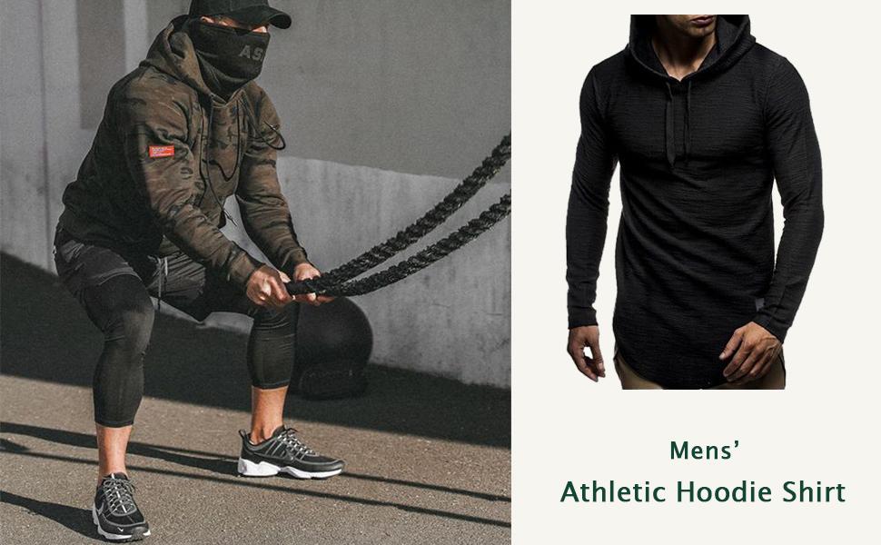 THWEI Mens Athletic Hoodies Sport Sweatshirt Solid Color Pullover Shirt Long Sleeve Tops