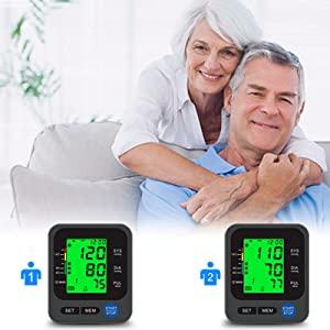 """2  Blood Pressure Monitor for Home Use with Large 3.5"""" LCD Display, Wowgo Digital Upper Arm Automatic Measure Blood Pressure and Heart Rate Pulse with Wide-Range Cuff,Three-Color Backlight Display 27406020 cc3e 494a a55f 6b0ba99d2c03"""