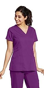 model wearing Grey's Anatomy 4153 Women's Mock Wrap Scrub Top