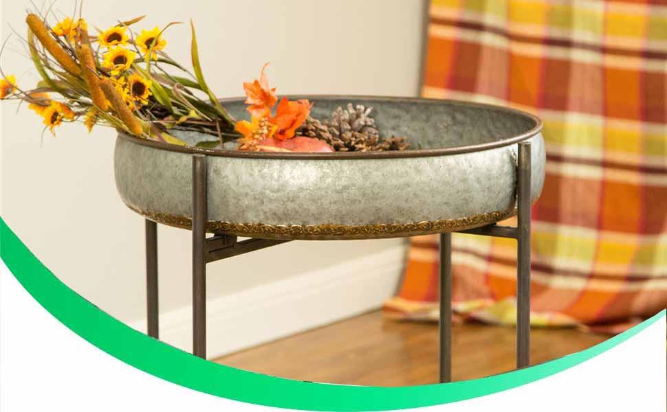 Farmhouse Galvanized Tray Metal Patio Table